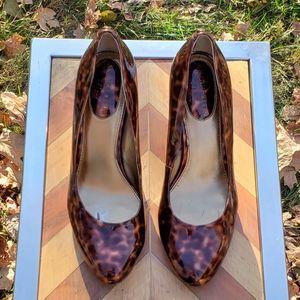 Anne Klein Patent Leather Leopard iFlex Heels 6M